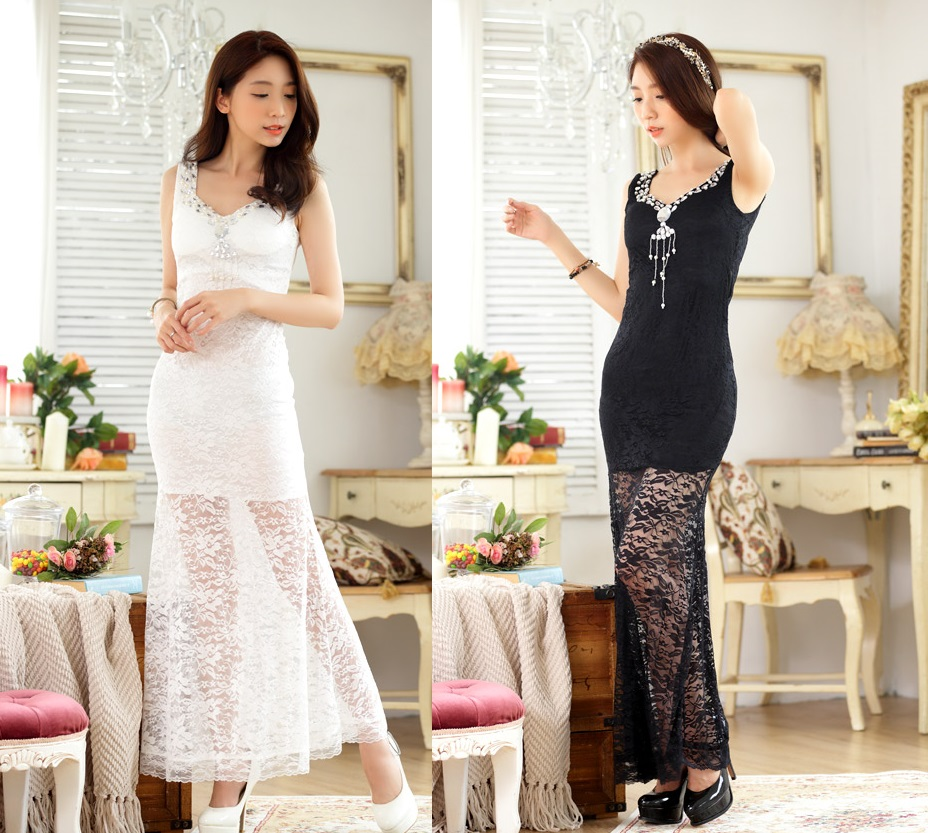 天使嫁衣【J2K9662】2色中大尺碼性感蕾絲釘珠合身長款禮服洋裝-預購