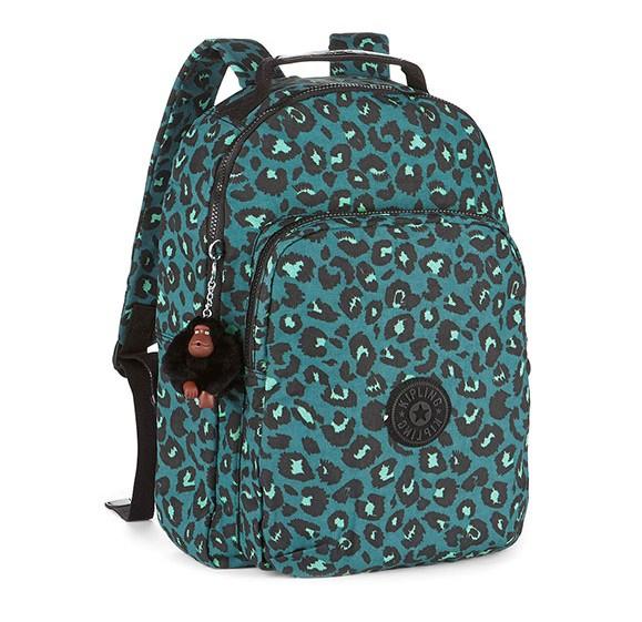 OUTLET代購【KIPLING】綠底動物紋旅行後背包