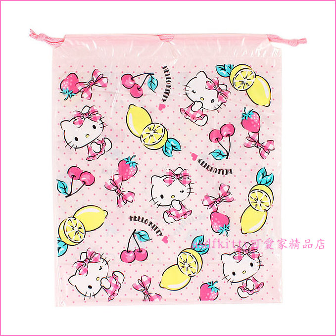 asdfkitty可愛家☆KITTY水果版防水收納袋/束口袋-游泳玩水好用-日本正版商品