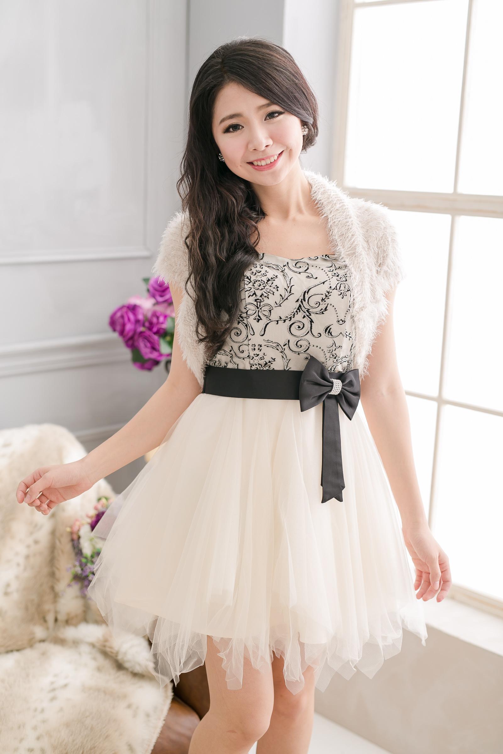 PMQueen白羽夜后洋裝禮服[#30031-1] 柔軟毛毛百搭小外套/短版外套/晚宴/披肩