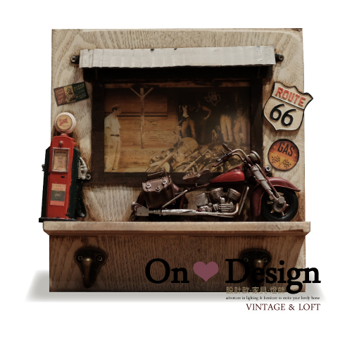 On ♥ Design ❀ Industrial 工業風 Loft 復古 哈雷重機造型 手工相框