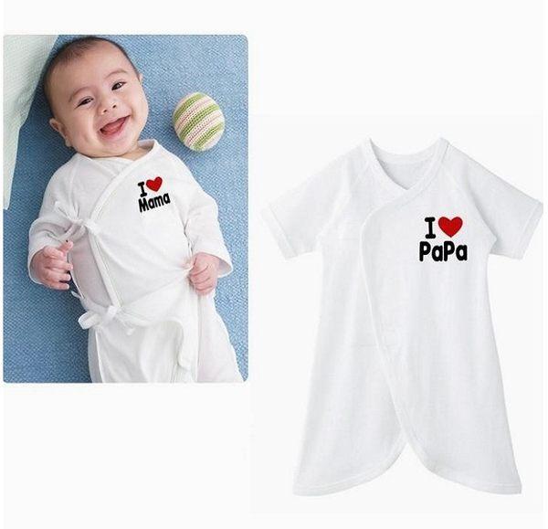*孕味十足。孕婦裝。寵愛寶貝*【F022】我愛爸//媽圖樣 紗布材質寶寶蝴蝶衣(隨機出貨)