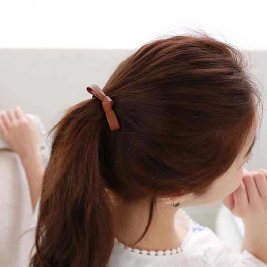 簡約氣質PU皮革蝴蝶結髮束 髮繩《不挑色》ACE0044