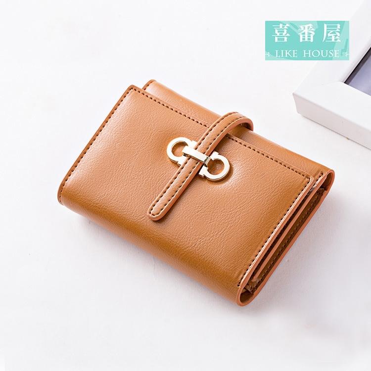 【喜番屋】日韓版真皮牛皮大容量女士三折皮夾皮包錢夾零錢包短夾中夾流行女包女夾LH332
