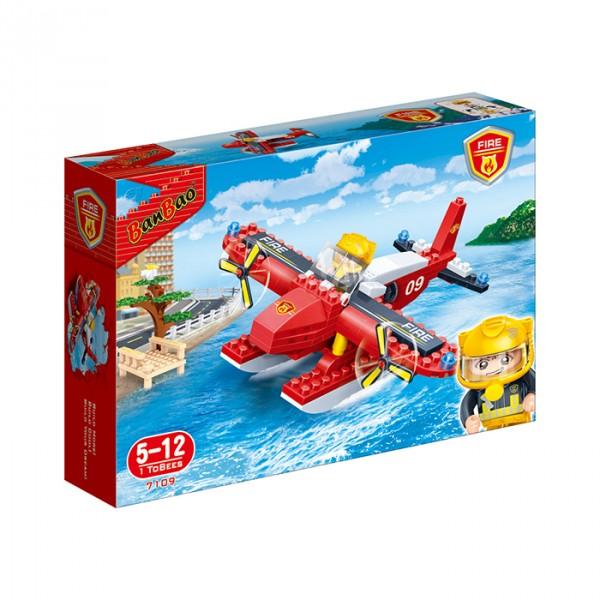【BanBao 積木】新消防系列-消防水陸飛機 7109  (樂高通用) (單筆訂單購買再加送積木拆解器一個)