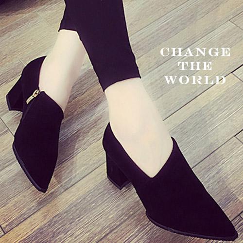 短靴-時尚黑尖頭絨面側拉鍊踝靴