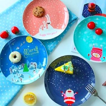 歡樂聖誕陶瓷餐盤 雪花飄飄可愛創意圓盤 盤子 耶誕大餐 派對 party time 【Limiteria】
