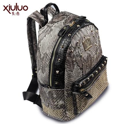復古個性鉚釘金屬感潮流雙肩蛇紋雙拉鍊後背包預購【mo-40622168689】
