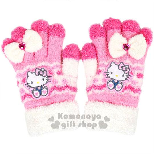 〔小禮堂〕Hello Kitty 兒童保暖手套《粉白.坐姿.白蝴蝶結》秋冬禦寒小物