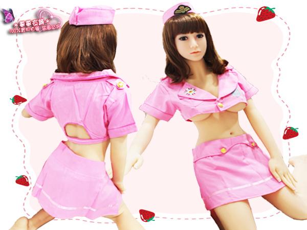 Oo粉紅泡泡oO(A349042)100%實品拍攝 甜美深V粉紅空姐服 遊戲制服 角色扮演 寫真服制服趴電玩水手服