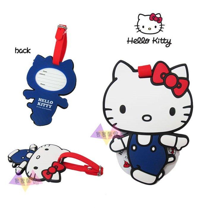 叉叉日貨 Hello Kitty凱蒂貓紅蝴蝶結藍色吊帶褲往前走旅行用行李箱吊牌 日本正版【KT11309】