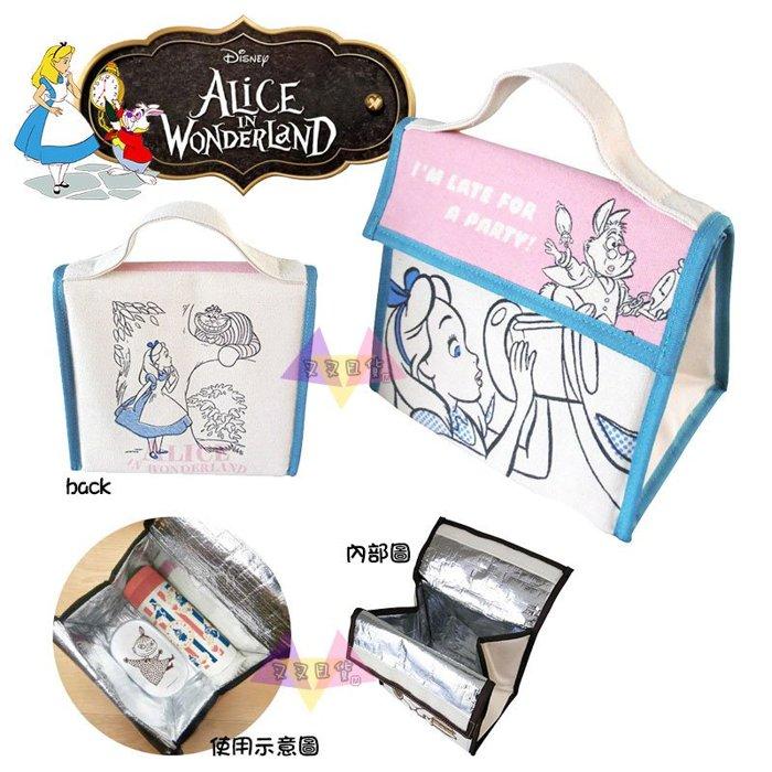 叉叉日貨 迪士尼愛麗絲夢遊仙境喝縮小藥水時鐘兔粉底笑笑貓手提袋保冷袋便當袋 日本正版【Di41841】