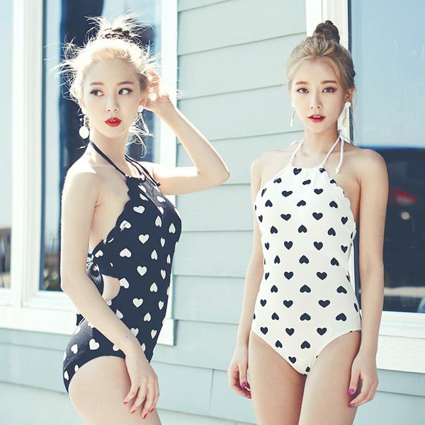 PS Mall 愛心圖案顯瘦連身裙式泳裝【ET540】遮肚 泳衣 溫泉 沙灘 BIKINI