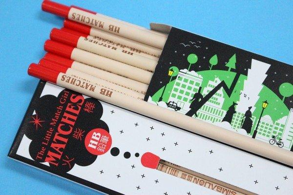 雄獅鉛筆 NO.1127 賣火柴的女孩 火柴棒圓桿塗頭鉛筆(上班族系列HB)/一小盒入{定60}