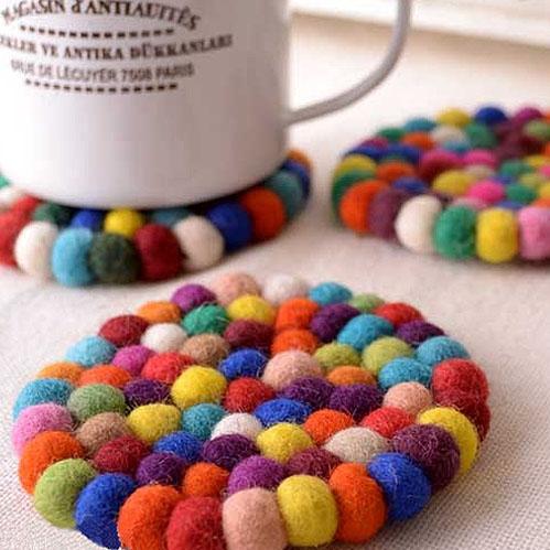 彩色羊毛氈墊-小 圓形(10x10x1cm) 隔熱墊/杯墊/民族風露營用品 台北山水