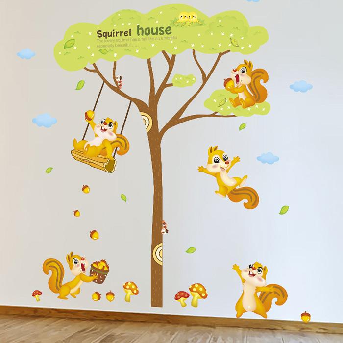 DIY無痕壁貼 松鼠之家 牆貼 創意壁貼【YV6375】快樂生活網