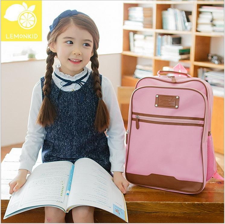 Lemonkid◆新款升級版學院風側網袋好質感耐用牛津布兒童書包雙肩包後背包-粉色