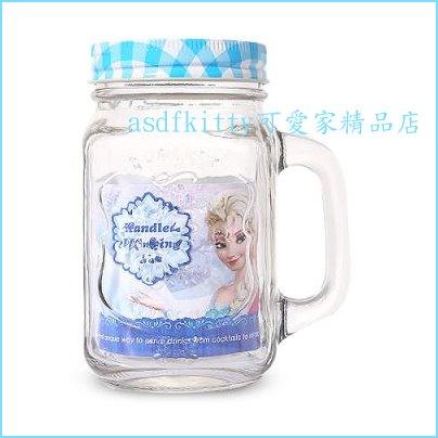 asdfkitty可愛家☆迪士尼冰雪奇緣藍蓋透明玻璃杯/梅森瓶-可當水杯.飲料杯.沙拉罐-韓國正版商品