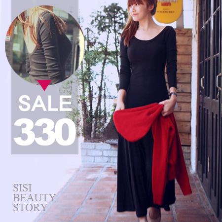SISI【D6105】優雅名媛性感露背顯瘦大擺莫代爾長袖長裙洋裝超長T連身裙