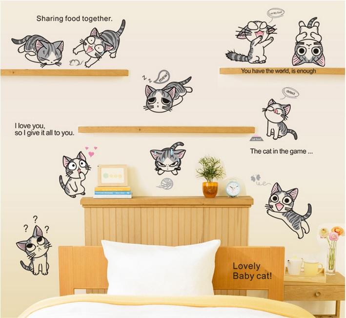 【壁貼王國】 卡通系列無痕壁貼 《起司貓 - AY7054》