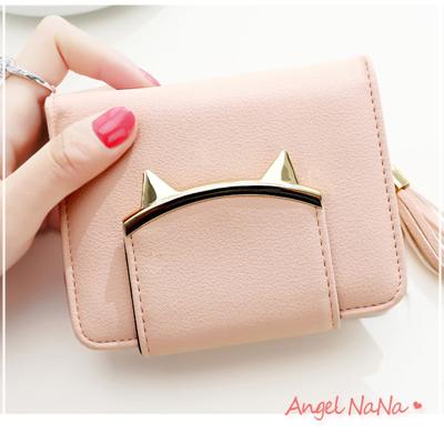 AngelNaNa 韓版 日系短夾。 可愛貓咪 糖果色 金屬鉚釘 搭扣 流蘇 皮夾 零錢包 【M163】