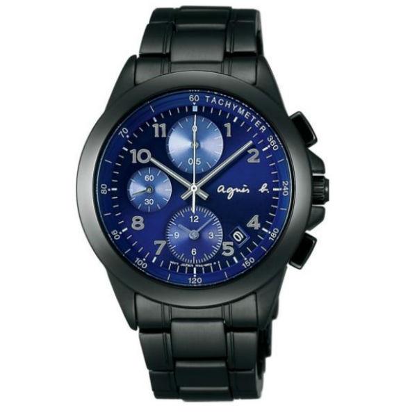 agnes b 7T92-0LY0A(BF8329P1)運動三眼時尚腕錶/藍面40mm