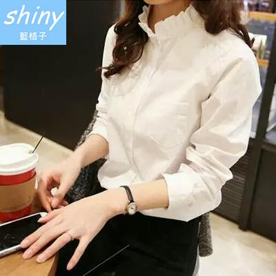 【V0209】shiny藍格子-美風搭物.純色甜美花瓣領寬鬆長袖襯衫上衣