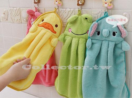 【E14060601】繽紛甜美糖果色-超柔珊瑚絨卡通擦手巾 創意可掛毛巾