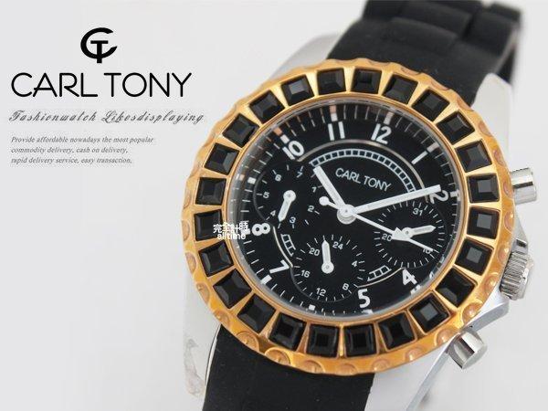【完全計時】手錶館│CARL TONY 晶鑽魅惑腕錶 防水矽膠錶帶系列 三眼計時款CT3013OS-1