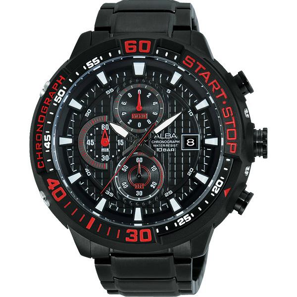 ALBA VD57-X016R(AM3099X1)紅黑罐頭潛水風計時腕錶/黑面49mm
