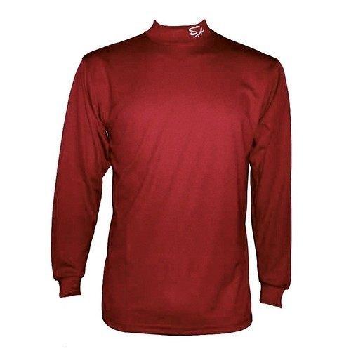 棒球世界全新SA 高領長袖排汗衣 練習衣 特價 酒紅色