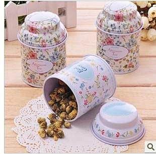 =優生活=韓國雜貨 zakka雜貨 氣質碎花茶葉罐 圓形馬口鐵 婚禮小物 糖果罐 收納罐