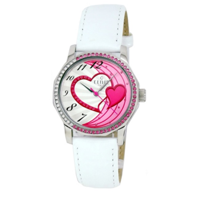 CLOIE 擁入心懷晶鑽腕錶-白x粉紅/34mm CL10175-VX04