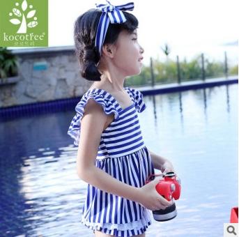 Kocotree◆可愛女孩蝴蝶結髮帶海軍風條紋分體裙式泳褲泳裝-藍色