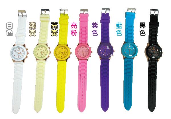 繽紛馬卡龍個性造型糖果色手錶/大錶面/多彩繽紛/共七色隨機