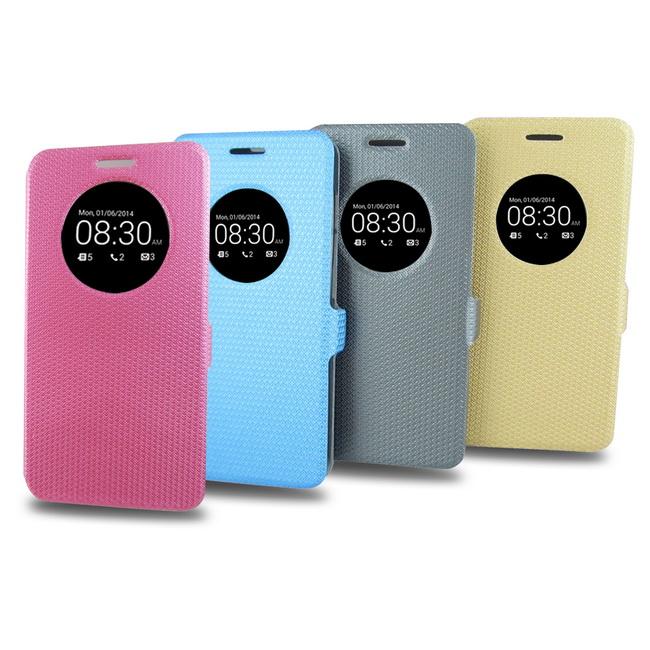 T34圓窗簡約款ASUS zenfone5 (A500,A501)(5吋)手機皮套(加贈螢幕貼)