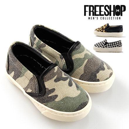 童鞋 Free Shop【QSH0567】日韓系滿版豹紋千鳥紋迷彩低筒休閒懶人鞋童鞋 三色 (FNB24) MIT台灣製