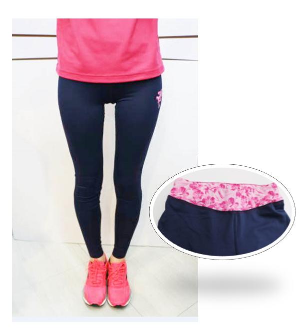 [陽光樂活] Kappa 女 慢跑緊身褲 吸濕 排汗 速乾 防污 免燙 FD52-Y001-3 藏青x粉紅