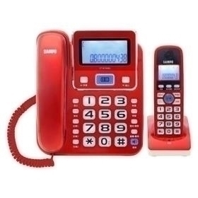聲寶 CT-W1304DL 2.4GHz高頻數位無線電話-紅色
