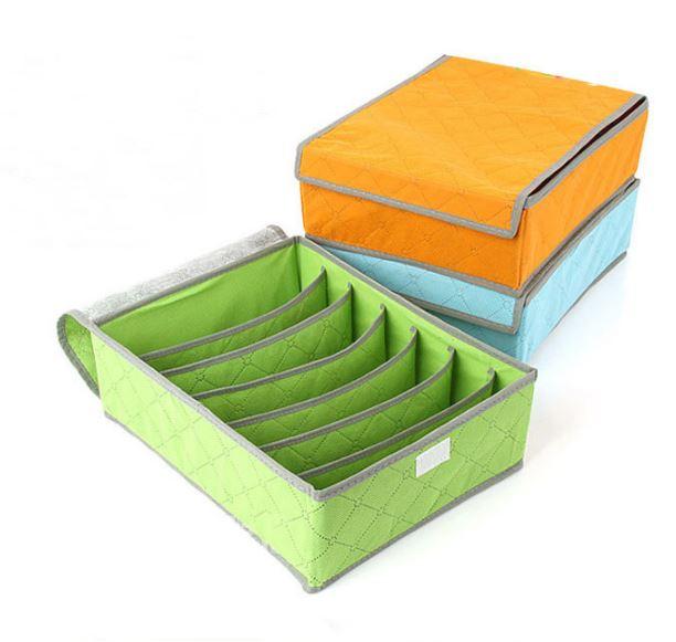 (隨機出貨)彩色竹炭七格收納盒防塵防潮衣物整理袋內衣收納7格 69元