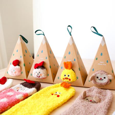 卡通聖誕禮盒襪 珊瑚絨地板襪 毛巾襪 保暖加厚 聖誕節禮物 造型襪 襪子 中筒襪【N201154】