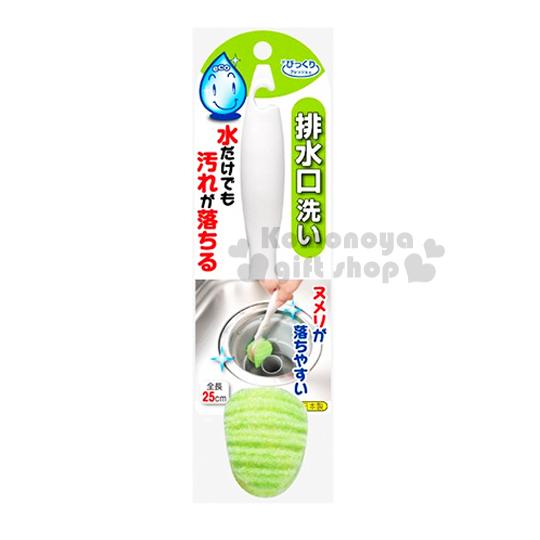 〔小禮堂〕SANKO 日製免洗劑排水口清潔刷《白.綠刷頭》