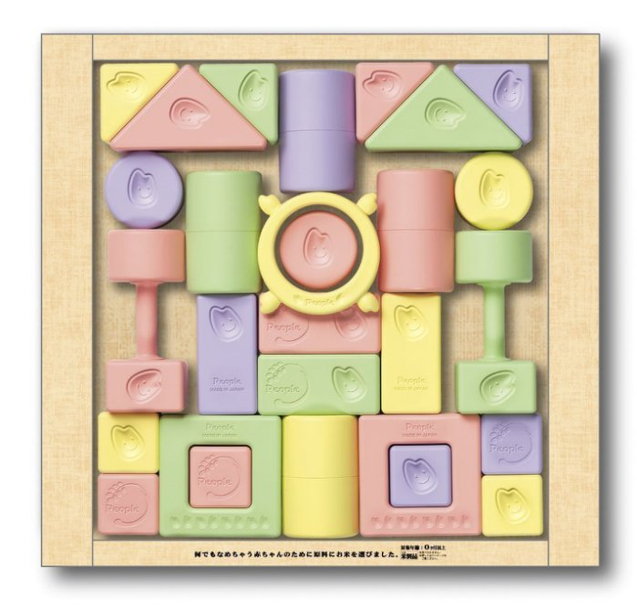 免運費  People 彩色米的積木組合 米製玩具 兒童玩具 日本原裝進口 彩色米製積木