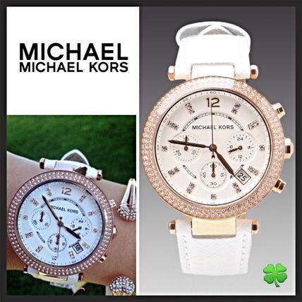 美國Outlet 正品代購 MichaelKors MK 玫瑰金鑲鑽 白色皮帶三環計時手錶腕錶 MK2281