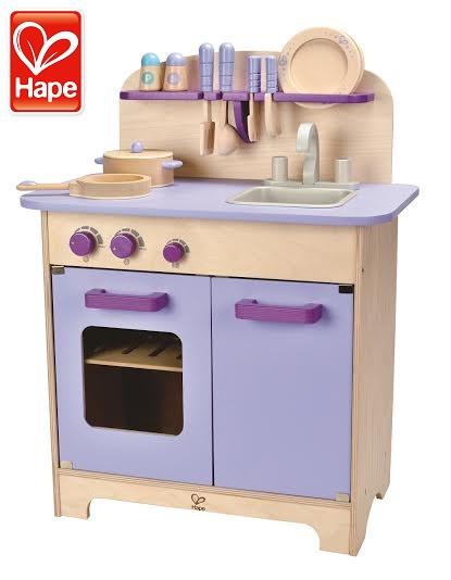 【德國Hape愛傑卡】大型廚具台含配件+主廚蔬菜(薰衣草紫)