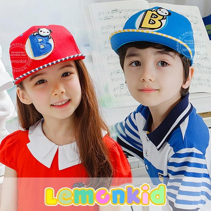 Lemonkid◆可愛小熊字母條紋時尚配色運動休閒兒童鴨舌棒球帽