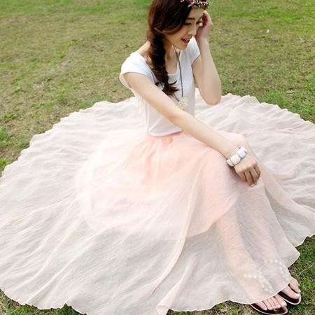 SISI【P6025】波西米亞雙層大裙襬雪紡長裙傘狀垂襬不規則鬆緊高腰長裙