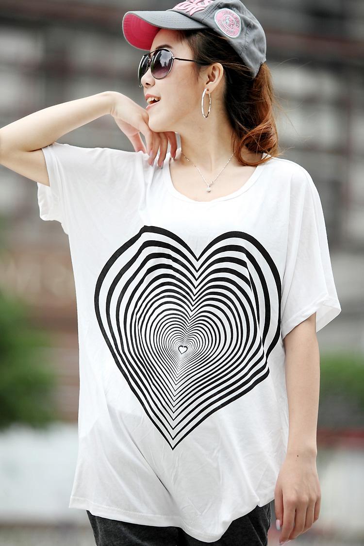 YJY舒適寬鬆莫代爾愛心燙印T恤[2014267]