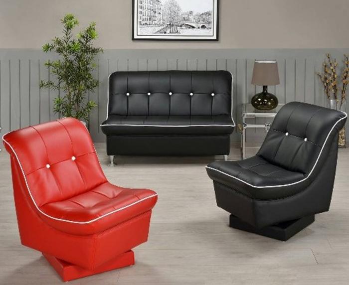 【尚品傢俱】WY-51 套房出租最愛 黑紅兩色2人座皮沙發 (另有1人座)/家庭沙發/客廳沙發/辦公室沙發