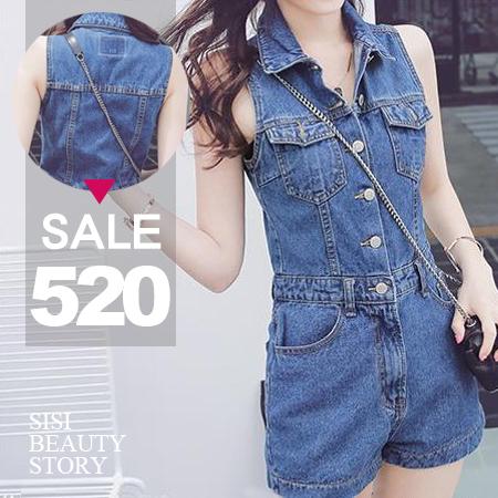 SISI【J6015】帥氣女孩兒翻領排扣雙口袋無袖牛仔連身短褲丹寧牛仔連體褲
